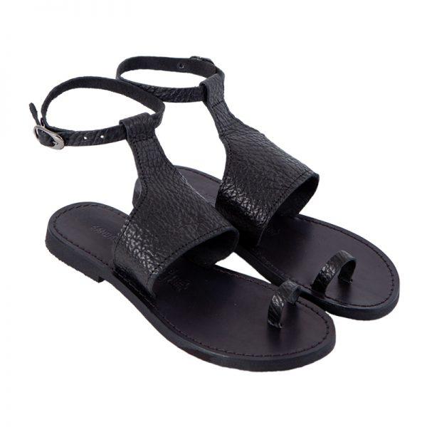 sandali gladiatore nero martite vero cuoio