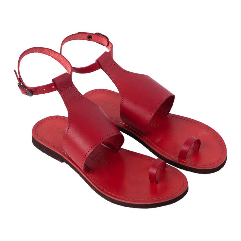 sandali gladiatore donna in pelle martite rosso