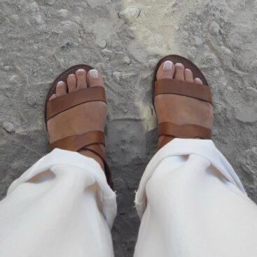 Sandali donna cuoio fatti a mano