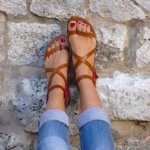 sandali gladiatore da donna in vero cuoio