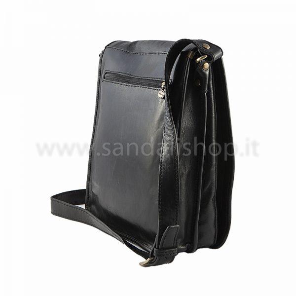 7972921c40 Borsa artigianale tracolla Postino da uomo nero - Sandalishop.it