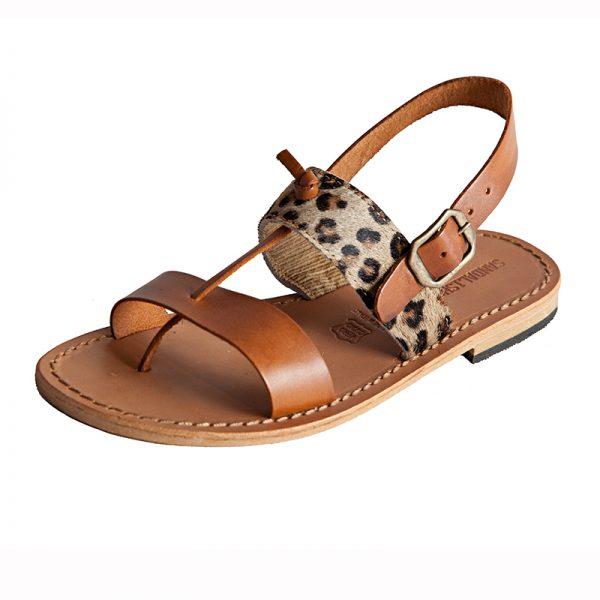 Sandalo chiuso dietro Animalier cognac da donna