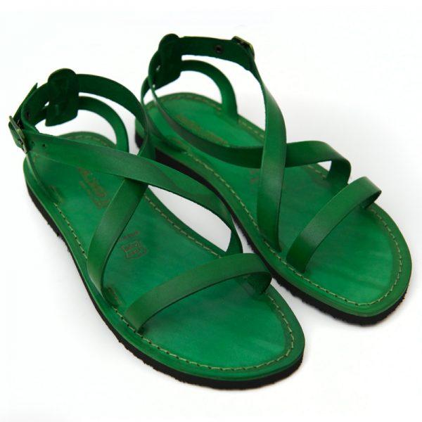 Sandalo chiuso dietro Cisternino verde da donna