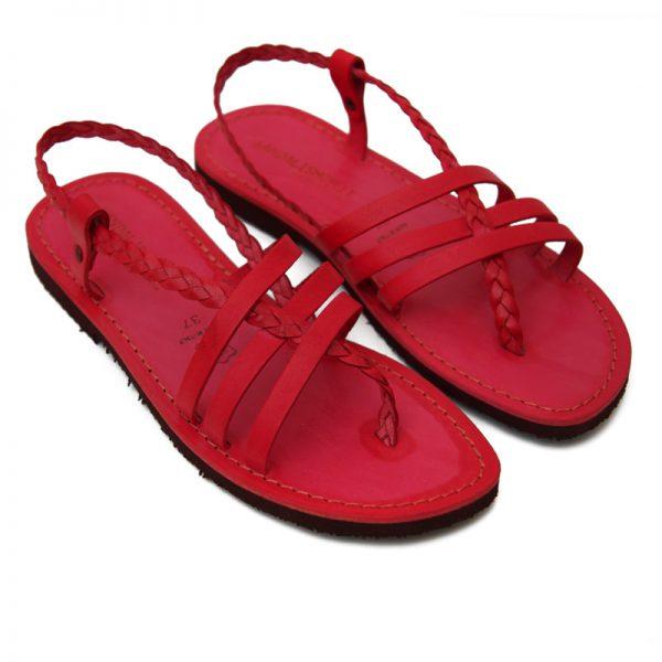 Sandalo chiuso dietro Leuca rosso da donna