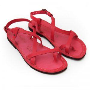 Sandalo chiuso dietro Melpignano rosso da donna