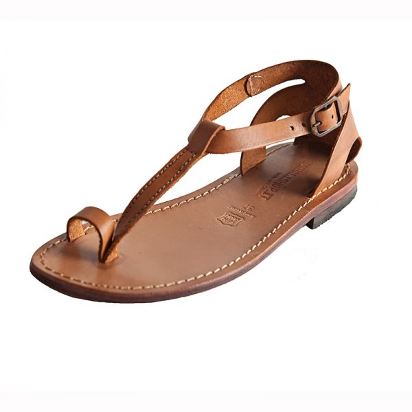 Women's Minimal Strappy sandals in Cognac