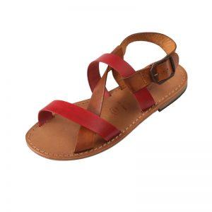 Sandalo chiuso dietro Positano cognac rosso da donna