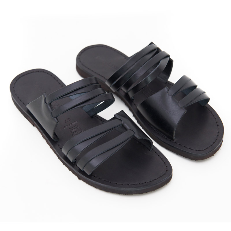 Sandalo ciabatta Gallipoli nero da donna
