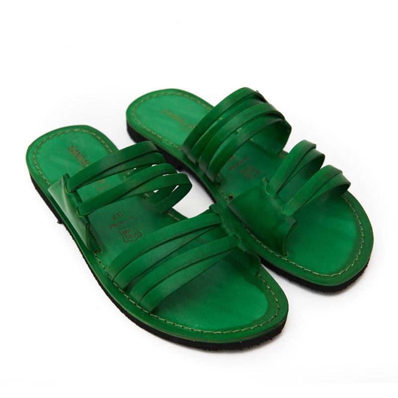 Sandalo ciabatta Gallipoli verde da donna