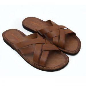 Sandalo ciabatta Chidro cognac da uomo