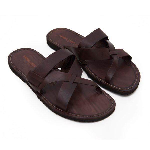 Sandalo ciabatta Turne marrone da uomo