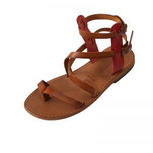 Sandalo gladiatore Capri cognac rosso da donna