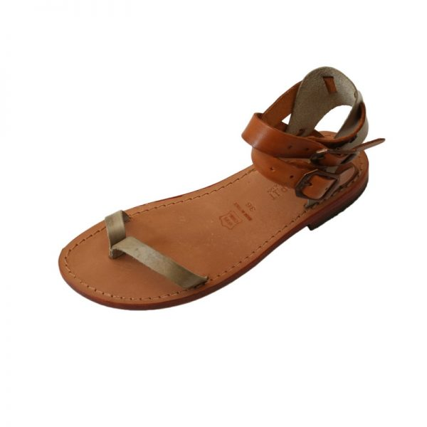 unisex Elba Gladiator sandals in Cognac