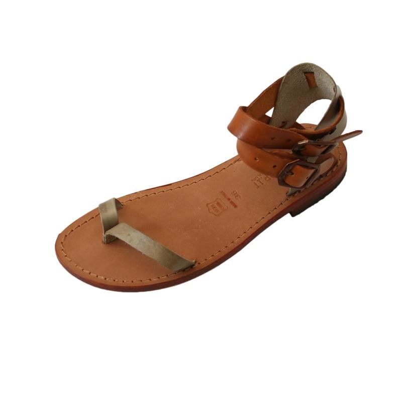 Sandalo gladiatore Elba cognac verde mimetico da donna