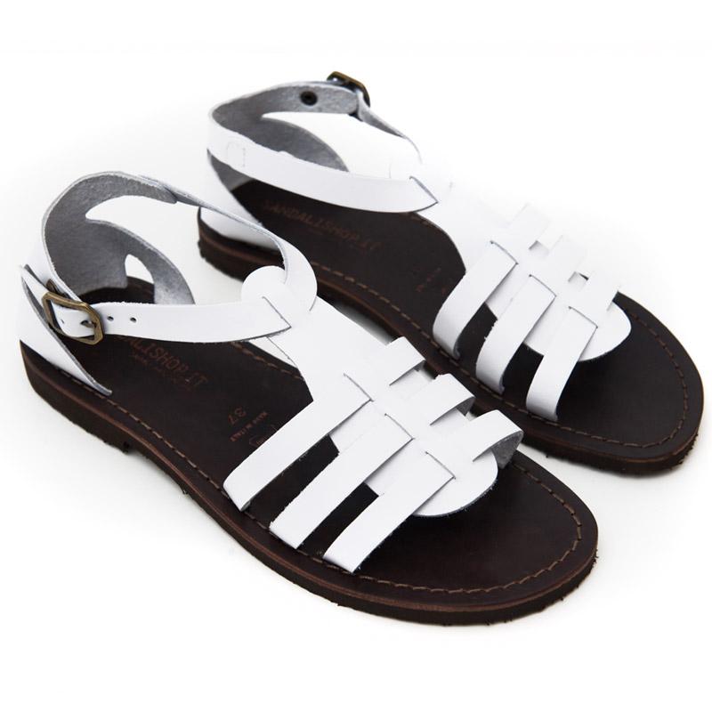 Sandalo gladiatore Leverano bianco da donna