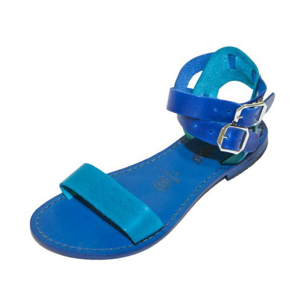 Sandalo gladiatore Palermo blu turchese da donna