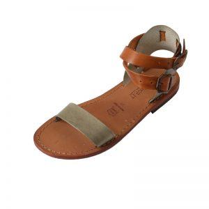 Sandalo gladiatore Palermo cognac verde mimetico da donna