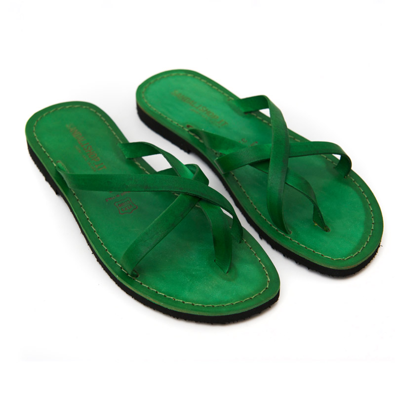 Sandalo infradito Taranto verde da donna