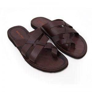 Sandalo infradito Alimini marrone da uomo