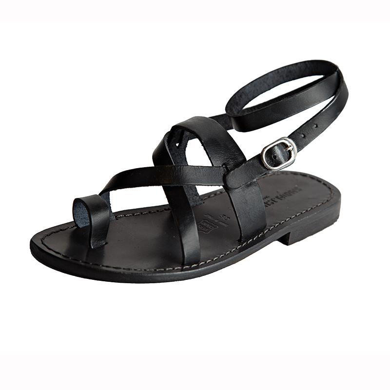 Sandalo schiava Hippie nero da donna