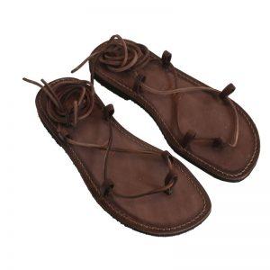 Sandalo schiava Stringato marrone da uomo