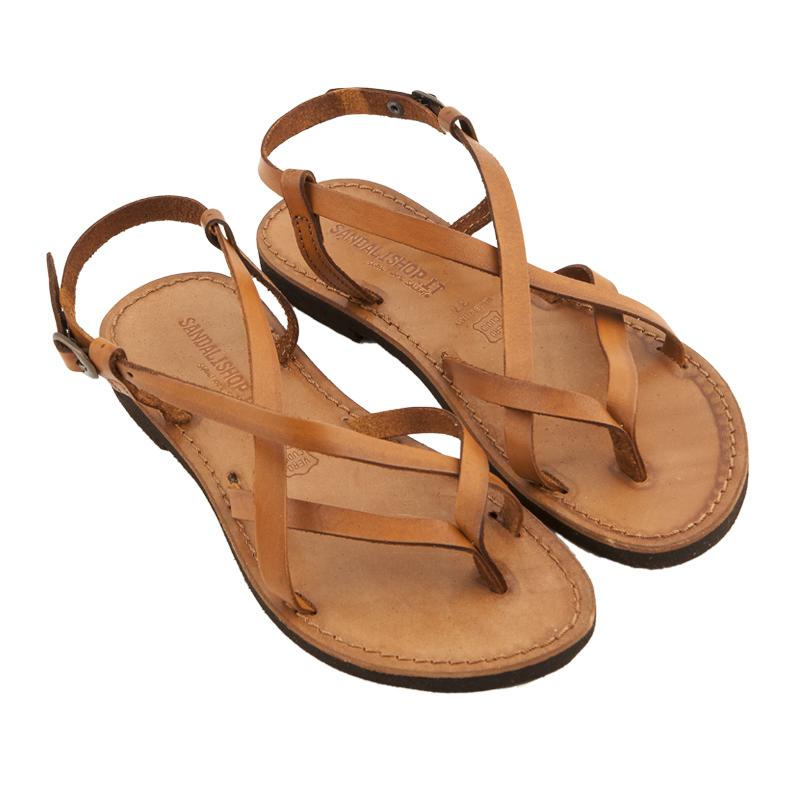 Sandalo chiuso dietro Collier cognac da donna