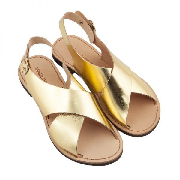 Sandalo chiuso dietro Inox oro da donna