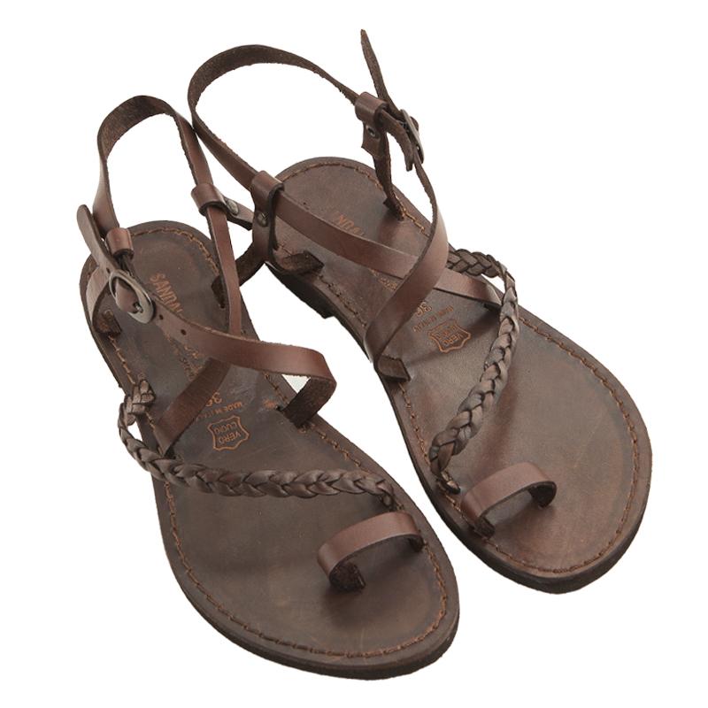Sandalo chiuso dietro Treccia marrone da donna