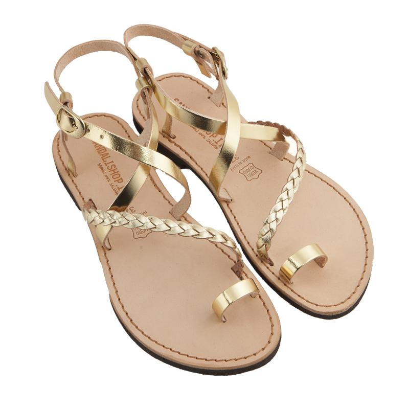 Sandalo chiuso dietro Treccia oro da donna