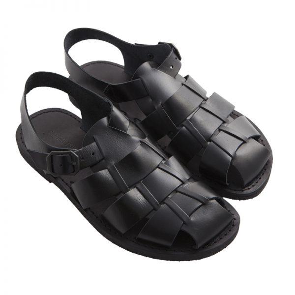 Sandalo chiuso dietro Retro nero da uomo