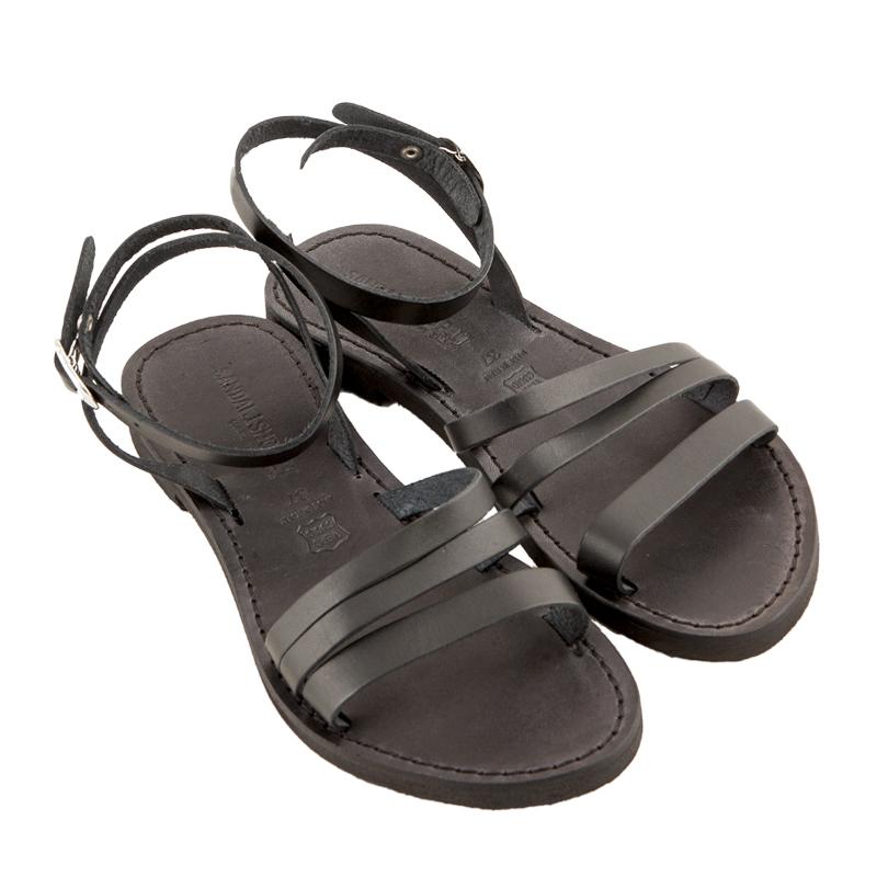 Sandalo schiava Salento nero da donna