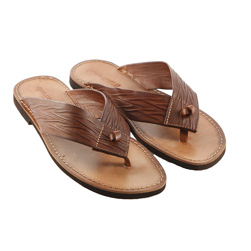 Sandalo infradito Africano cognac da uomo