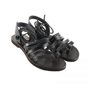 Sandalo schiava Lacci nero da donna