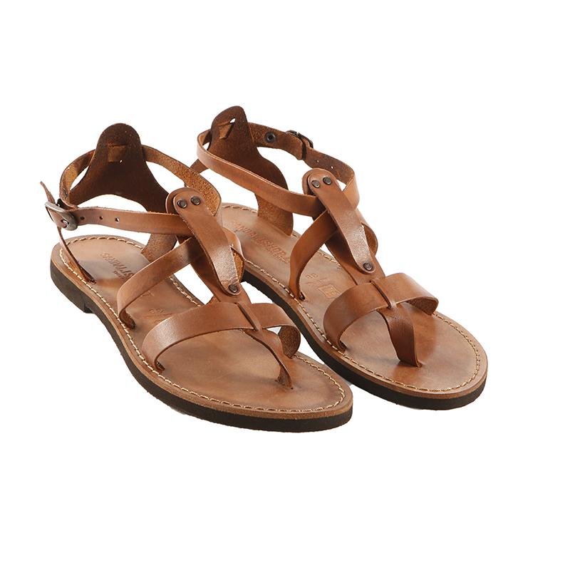 Sandalo schiava Rock cognac da donna